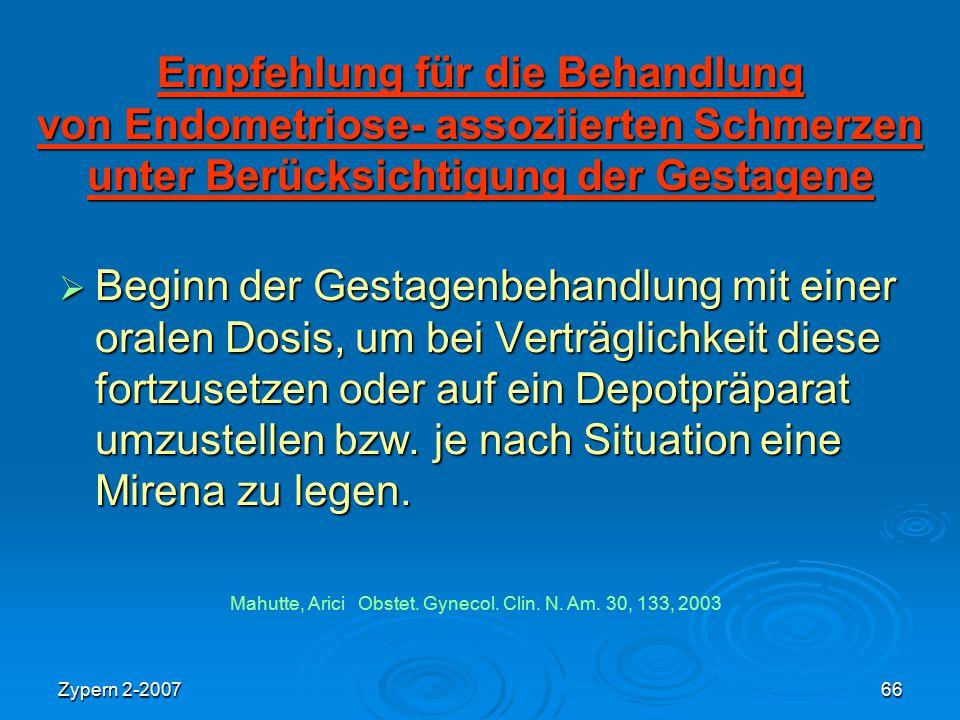 Zypern 2-200766 Empfehlung für die Behandlung von Endometriose- assoziierten Schmerzen unter Berücksichtigung der Gestagene  Beginn der Gestagenbehan