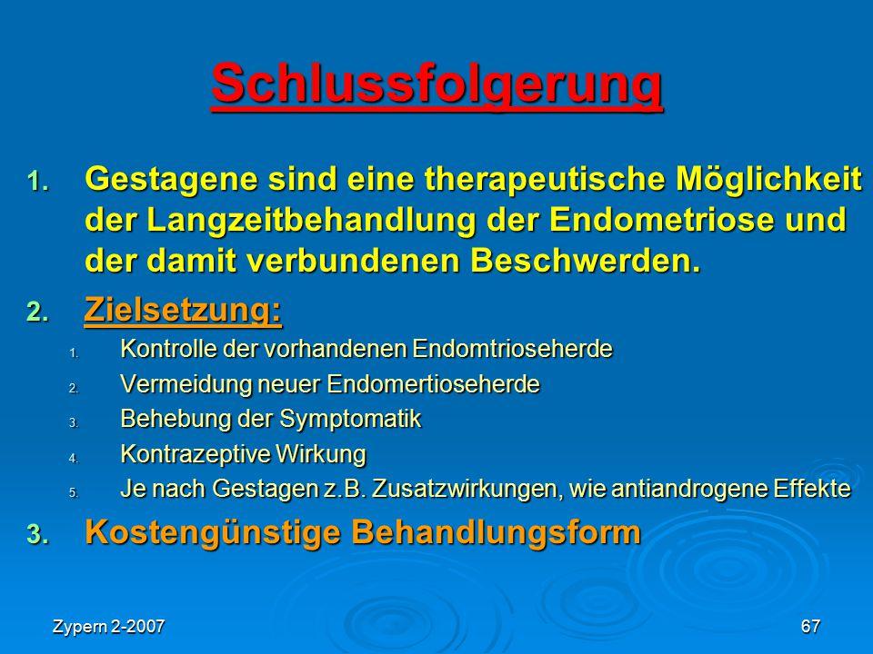Zypern 2-200767 Schlussfolgerung 1. Gestagene sind eine therapeutische Möglichkeit der Langzeitbehandlung der Endometriose und der damit verbundenen B