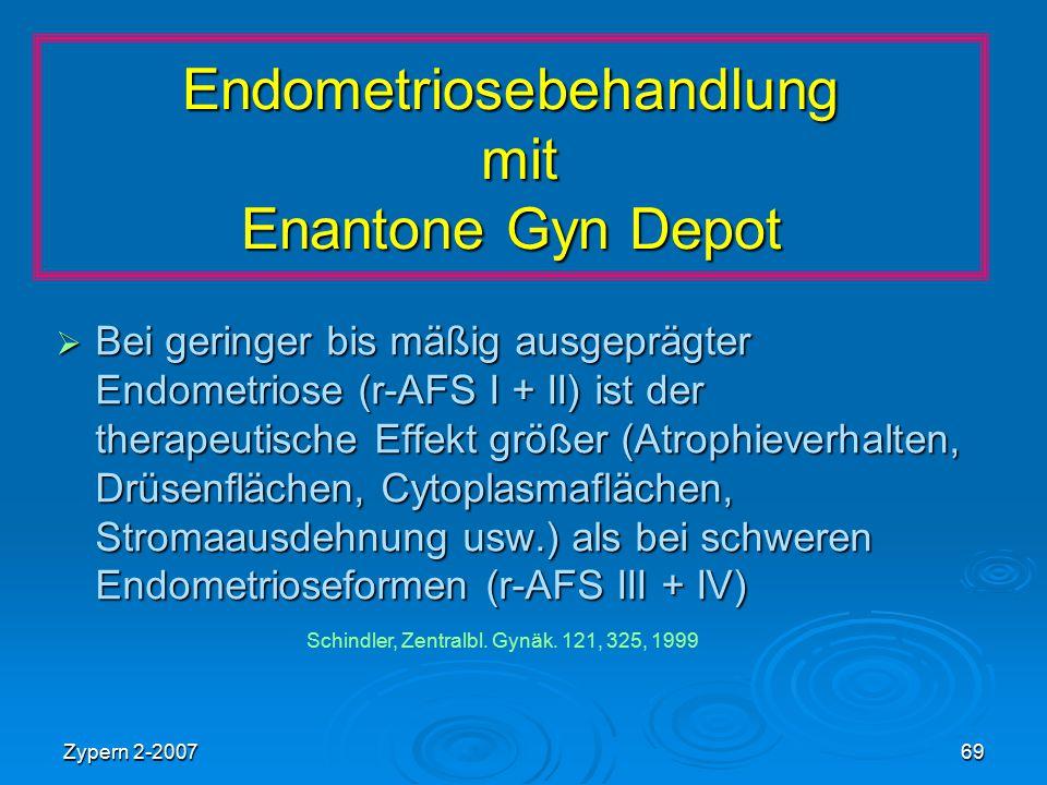 Zypern 2-200769 Endometriosebehandlung mit Enantone Gyn Depot  Bei geringer bis mäßig ausgeprägter Endometriose (r-AFS I + II) ist der therapeutische