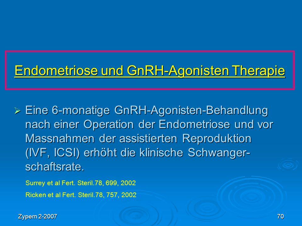 Zypern 2-200770 Endometriose und GnRH-Agonisten Therapie  Eine 6-monatige GnRH-Agonisten-Behandlung nach einer Operation der Endometriose und vor Mas