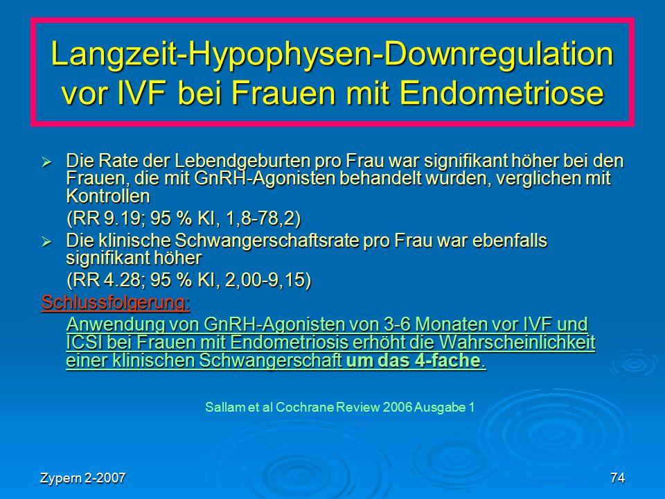 Zypern 2-200774 Langzeit-Hypophysen-Downregulation vor IVF bei Frauen mit Endometriose  Die Rate der Lebendgeburten pro Frau war signifikant höher be
