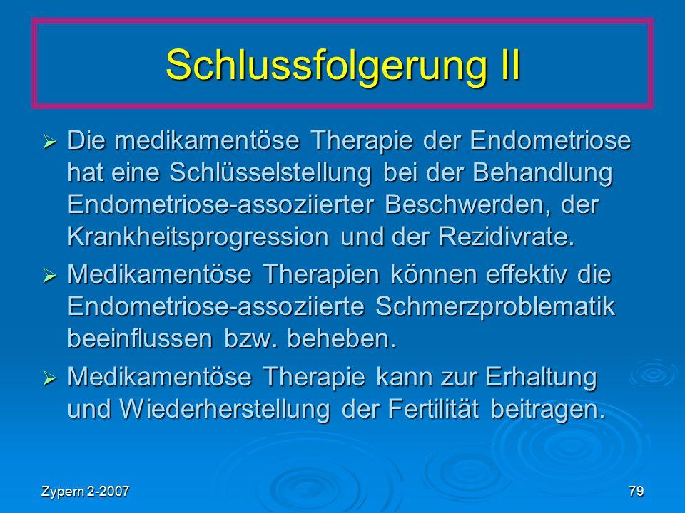 Zypern 2-200779 Schlussfolgerung II  Die medikamentöse Therapie der Endometriose hat eine Schlüsselstellung bei der Behandlung Endometriose-assoziier