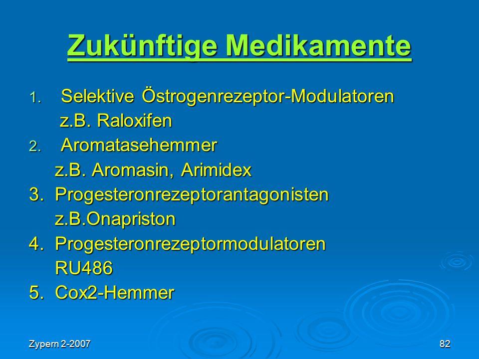 Zypern 2-200782 Zukünftige Medikamente 1. Selektive Östrogenrezeptor-Modulatoren z.B. Raloxifen z.B. Raloxifen 2. Aromatasehemmer z.B. Aromasin, Arimi