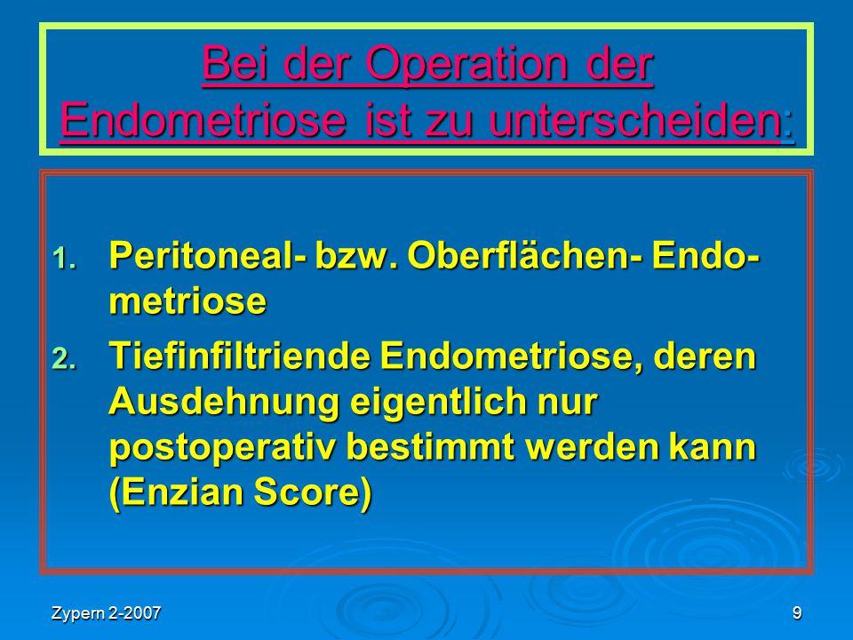 Zypern 2-20079 Bei der Operation der Endometriose ist zu unterscheiden: 1. Peritoneal- bzw. Oberflächen- Endo- metriose 2. Tiefinfiltriende Endometrio