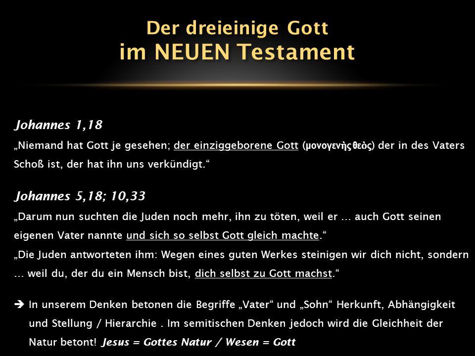 """Johannes 1,18 """"Niemand hat Gott je gesehen; der einziggeborene Gott ( μονογεν ὴ ς θε ὸ ς ) der in des Vaters Schoß ist, der hat ihn uns verkündigt."""" J"""