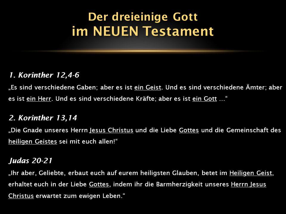 """1. Korinther 12,4-6 """"Es sind verschiedene Gaben; aber es ist ein Geist. Und es sind verschiedene Ämter; aber es ist ein Herr. Und es sind verschiedene"""