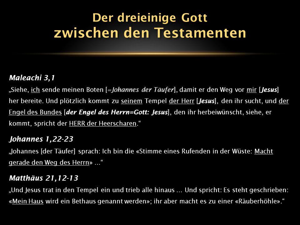 """Maleachi 3,1 """"Siehe, ich sende meinen Boten [=Johannes der Täufer], damit er den Weg vor mir [Jesus] her bereite. Und plötzlich kommt zu seinem Tempel"""