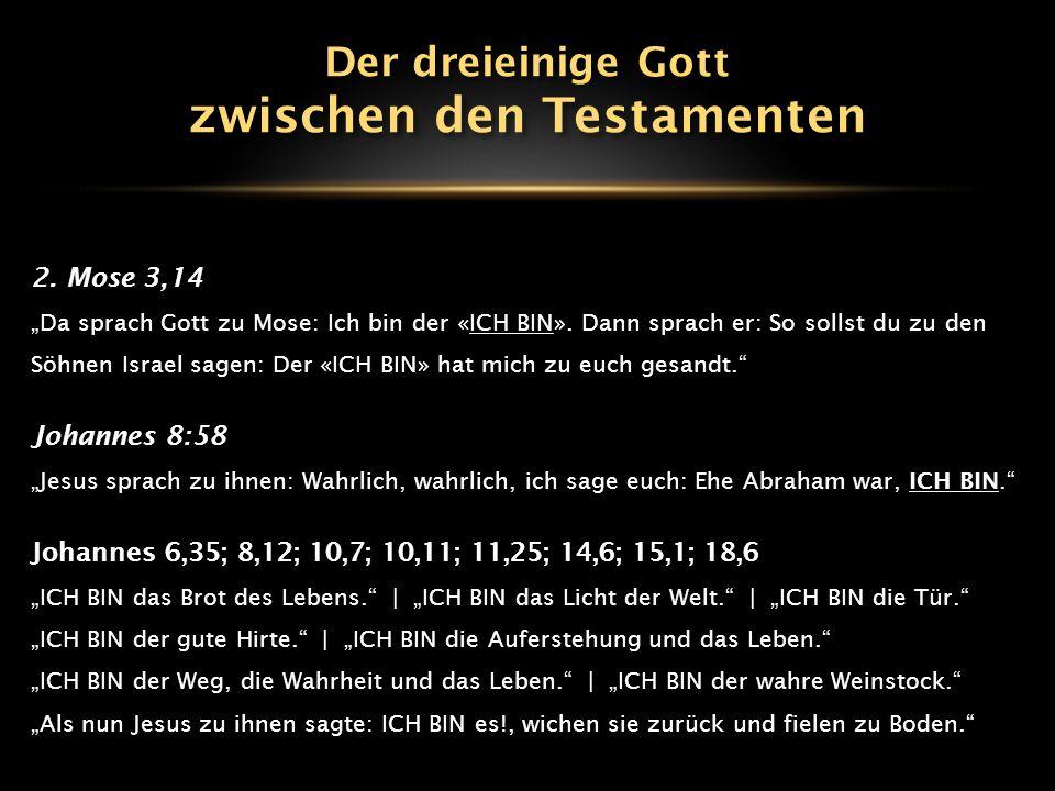 """2. Mose 3,14 """"Da sprach Gott zu Mose: Ich bin der «ICH BIN». Dann sprach er: So sollst du zu den Söhnen Israel sagen: Der «ICH BIN» hat mich zu euch g"""