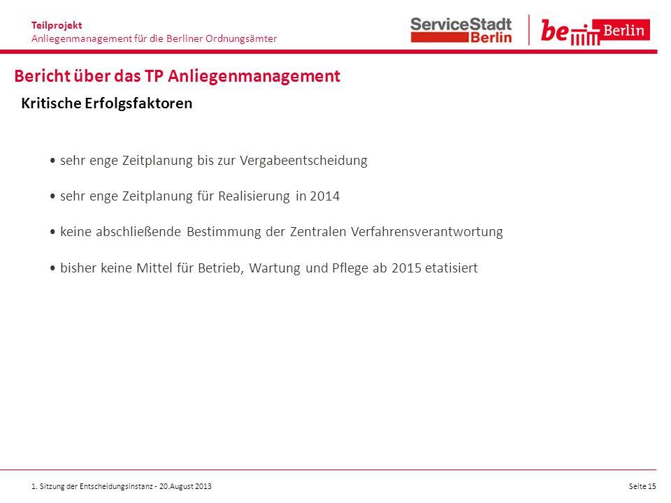 1. Sitzung der Entscheidungsinstanz - 20.August 2013 Seite 15 Teilprojekt Anliegenmanagement für die Berliner Ordnungsämter Bericht über das TP Anlieg