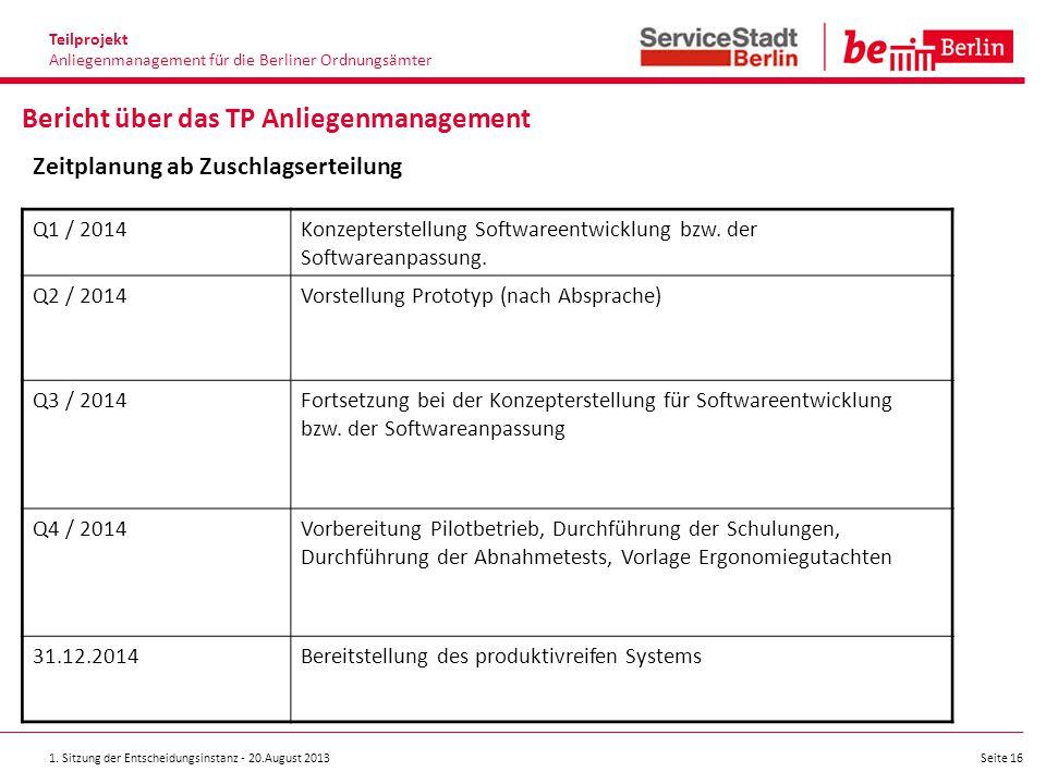 1. Sitzung der Entscheidungsinstanz - 20.August 2013 Seite 16 Teilprojekt Anliegenmanagement für die Berliner Ordnungsämter Bericht über das TP Anlieg