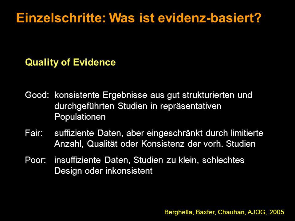 Einzelschritte: Was ist evidenz-basiert? Berghella, Baxter, Chauhan, AJOG, 2005 Quality of Evidence Good:konsistente Ergebnisse aus gut strukturierten
