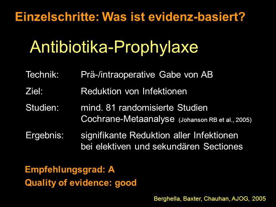 Einzelschritte: Was ist evidenz-basiert? Antibiotika-Prophylaxe Technik: Prä-/intraoperative Gabe von AB Ziel: Reduktion von Infektionen Studien:mind.