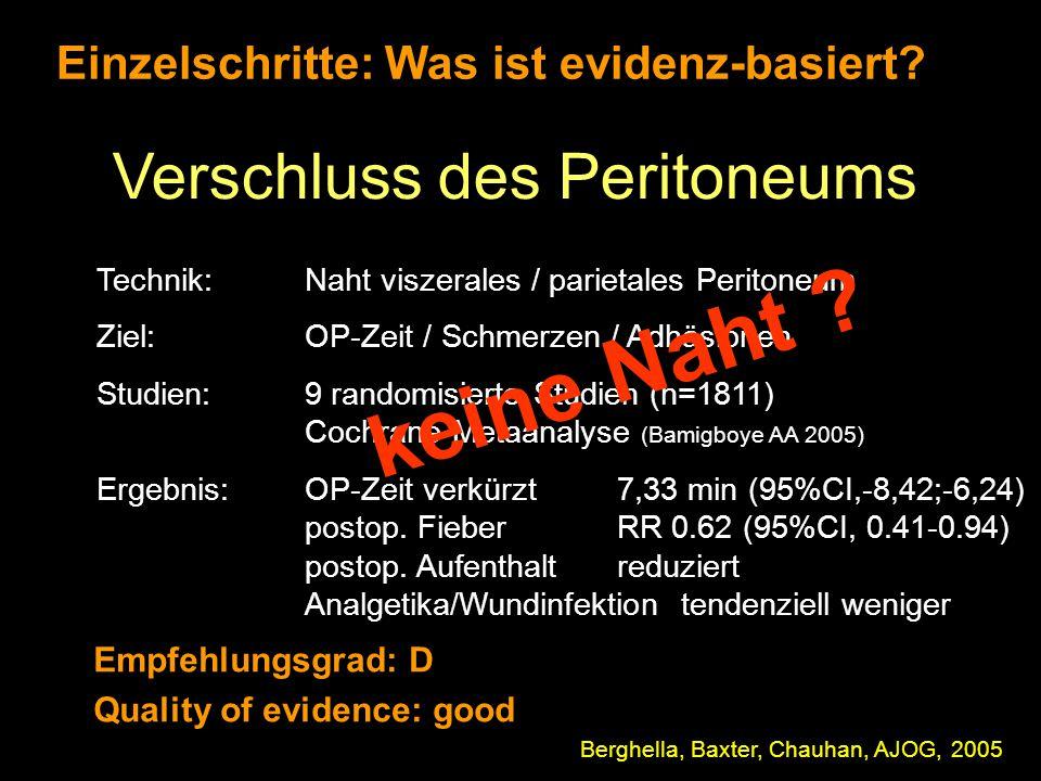Einzelschritte: Was ist evidenz-basiert? Verschluss des Peritoneums Berghella, Baxter, Chauhan, AJOG, 2005 Technik: Naht viszerales / parietales Perit