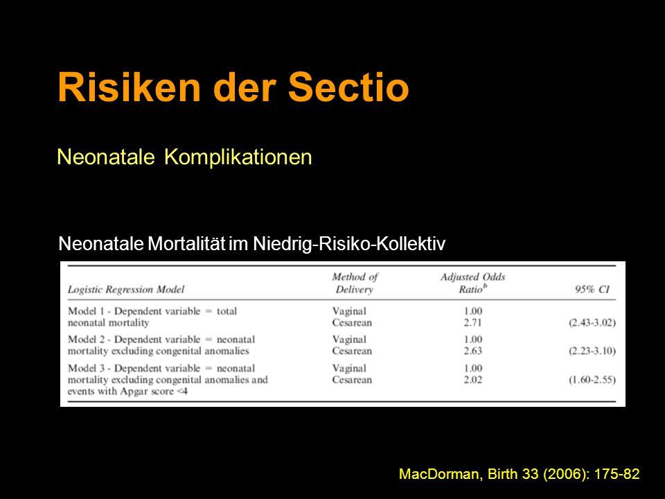 Risiken der Sectio Neonatale Komplikationen MacDorman, Birth 33 (2006): 175-82 Neonatale Mortalität im Niedrig-Risiko-Kollektiv