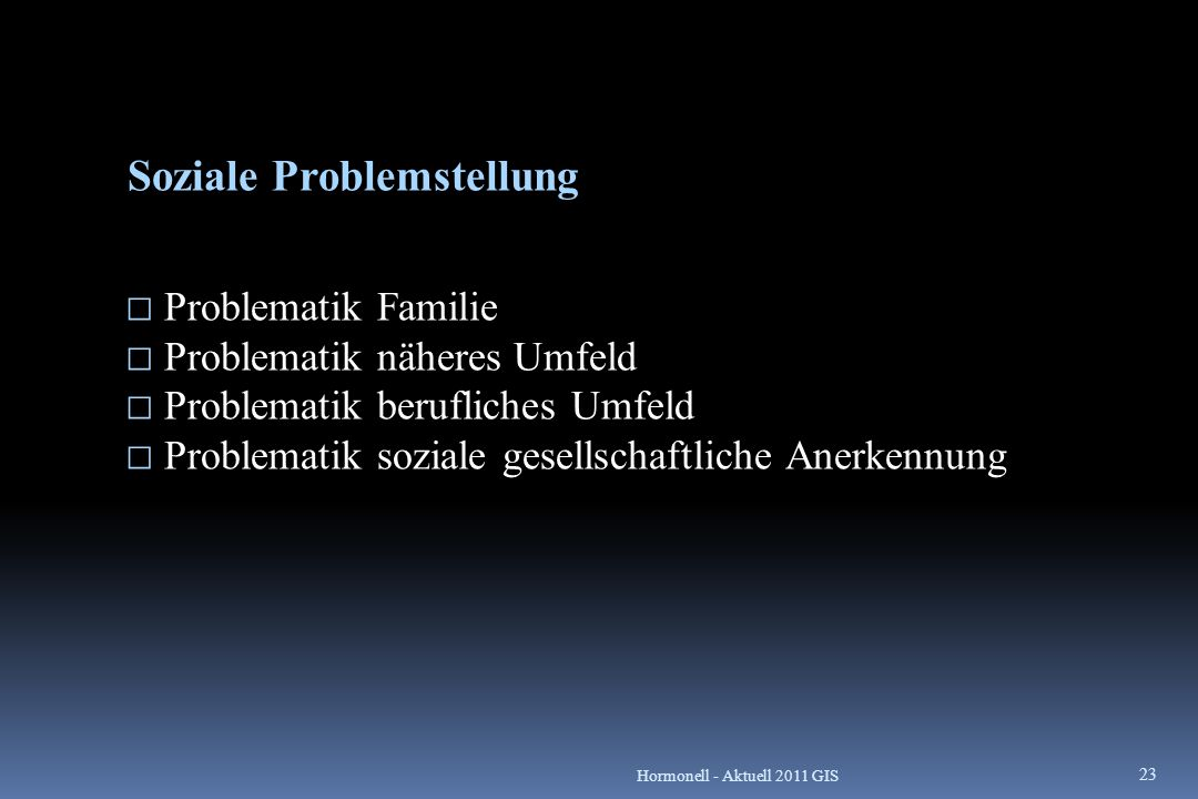 Soziale Problemstellung  Problematik Familie  Problematik näheres Umfeld  Problematik berufliches Umfeld  Problematik soziale gesellschaftliche An