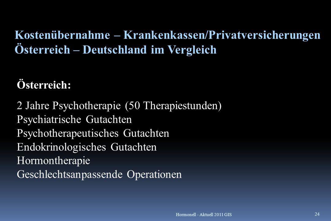Kostenübernahme – Krankenkassen/Privatversicherungen Österreich – Deutschland im Vergleich Österreich: 2 Jahre Psychotherapie (50 Therapiestunden) Psy