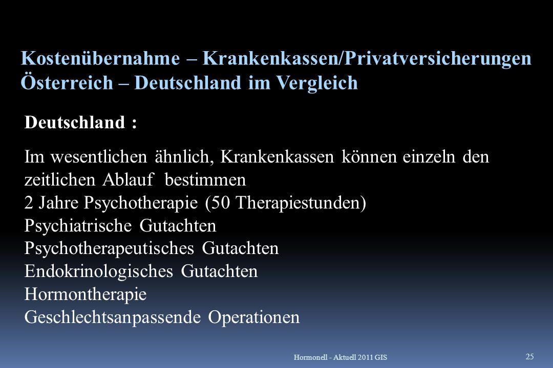 Kostenübernahme – Krankenkassen/Privatversicherungen Österreich – Deutschland im Vergleich Deutschland : Im wesentlichen ähnlich, Krankenkassen können
