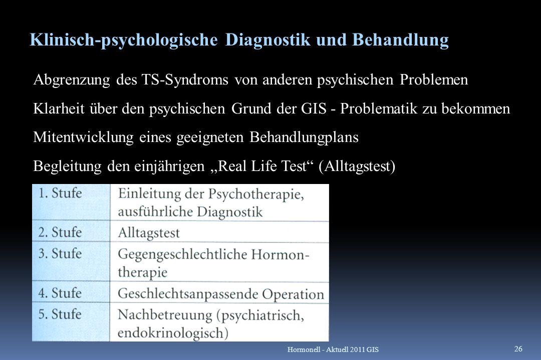 Klinisch-psychologische Diagnostik und Behandlung Abgrenzung des TS-Syndroms von anderen psychischen Problemen Klarheit über den psychischen Grund der