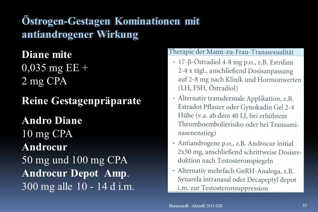 Östrogen-Gestagen Kominationen mit antiandrogener Wirkung Diane mite 0,035 mg EE + 2 mg CPA Reine Gestagenpräparate Andro Diane 10 mg CPA Androcur 50