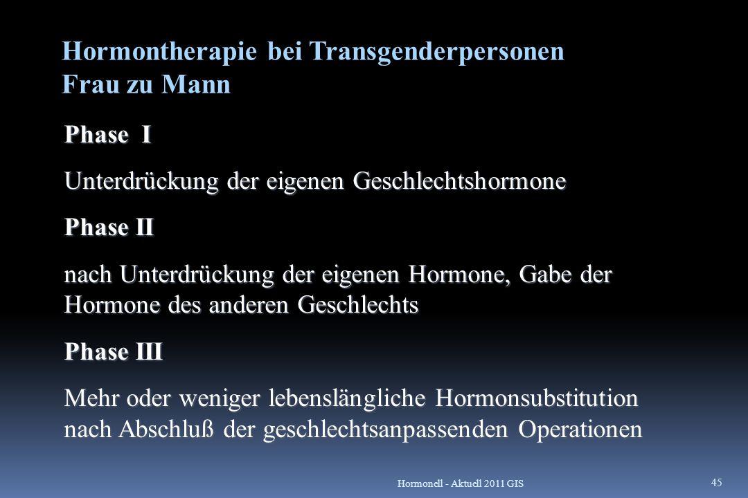 Hormontherapie bei Transgenderpersonen Frau zu Mann Phase I Unterdrückung der eigenen Geschlechtshormone Phase II nach Unterdrückung der eigenen Hormo