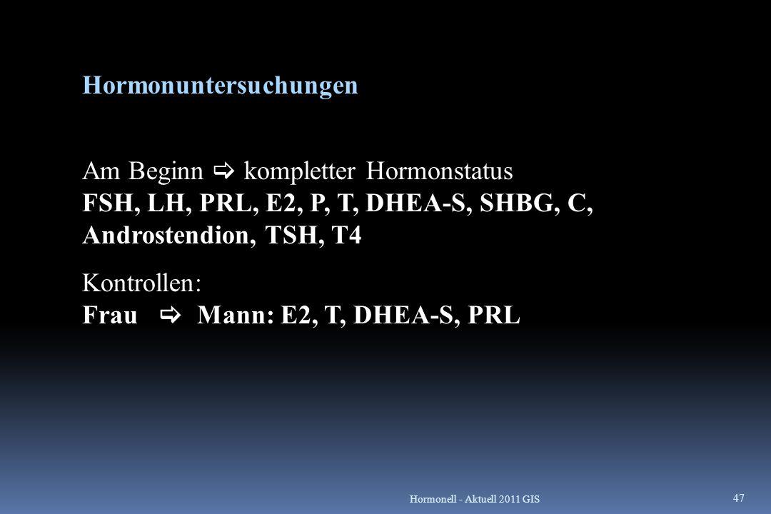 Hormonuntersuchungen FSH, LH, PRL, E2, P, T, DHEA-S, SHBG, C, Androstendion, TSH, T4 Am Beginn  kompletter Hormonstatus FSH, LH, PRL, E2, P, T, DHEA-