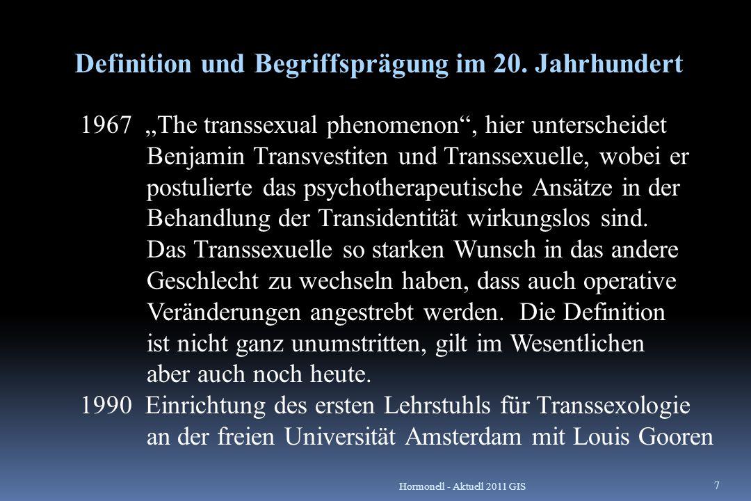 Epidemiologie und länderspezifische Besonderheiten in heutiger Zeit Häufigkeit des Auftretens sind stark von der Definition, Stichprobenauswahl und Untersuchungsmethode abhängig Häufigkeit der Transsexualität Mann zu Frau zwischen 1: 10 000 und 1: 30 000 Frau zu Mann zwischen 1: 15 000 und 1: 100 000 Angaben von früher existieren nicht, außerdem wurde zwischen Homosexualität, Transsexualität und Transvestitismus nicht unterschieden.