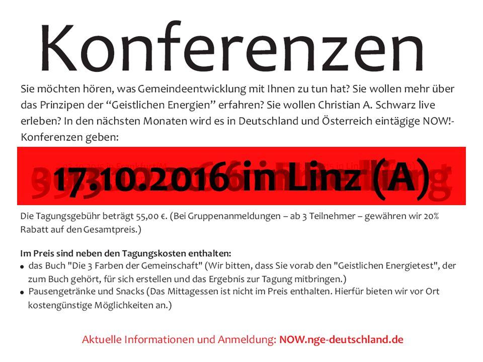 03.10.2016 in Frankfurt30.01.2016 in Hamburg13.10.2016 in Berlin17.10.2016 in Linz (A)