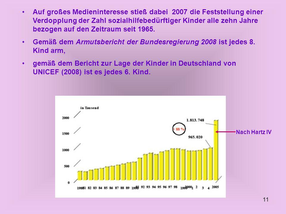 11 Auf großes Medieninteresse stieß dabei 2007 die Feststellung einer Verdopplung der Zahl sozialhilfebedürftiger Kinder alle zehn Jahre bezogen auf den Zeitraum seit 1965.