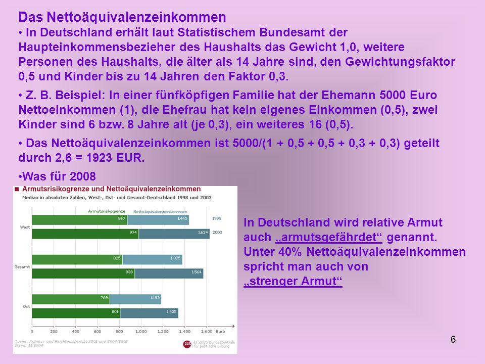 6 Das Nettoäquivalenzeinkommen In Deutschland erhält laut Statistischem Bundesamt der Haupteinkommensbezieher des Haushalts das Gewicht 1,0, weitere Personen des Haushalts, die älter als 14 Jahre sind, den Gewichtungsfaktor 0,5 und Kinder bis zu 14 Jahren den Faktor 0,3.