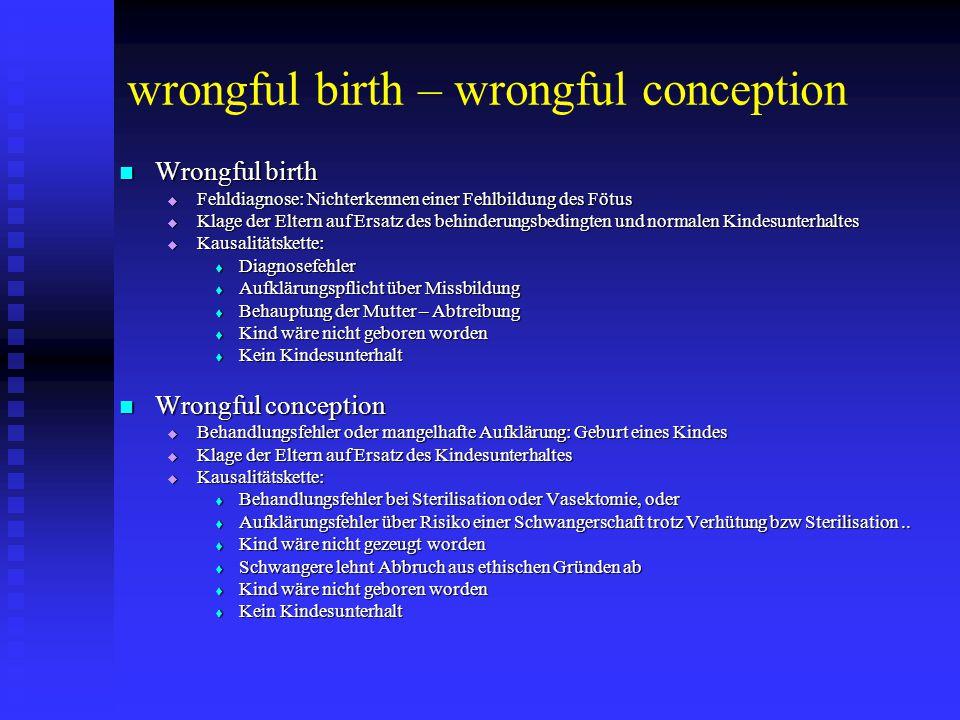 """Implanon """"Wrongful conception Deutschland – neue Entscheidung Implantation Implantation Schwangerschaft einer Mutter mit abgeschlossener Familienplanung (3 Kinder) Schwangerschaft einer Mutter mit abgeschlossener Familienplanung (3 Kinder) Geburt eines gesunden Kindes Geburt eines gesunden Kindes Klage auf den Kindesunterhalt beider Eltern (ca € 210.000) Klage auf den Kindesunterhalt beider Eltern (ca € 210.000) Urteil: Urteil:  Dokumentation:  Stäbchen von Arzt, Assistentin und Patientin getastet (schriftlich bestätigt)  Begleiterscheinung der Gestagenwirkung (länger anhaltenden azyklischen Blutungen und Kopfschmerzen)  Erhobener Sachverhalt des GA:  Implantat konnte nicht gefunden werden und Wirkstoff konnte im Blut nicht nachgewiesen werden  Gutachten:  Wahrscheinlichste Ursache: Fehler bei Implantation  Glaubhafte Tastbefunde  Mögliches Therapieversagen  Behandlungsfehler ist nicht die einzige denkbare Ursache: Keine Haftung"""