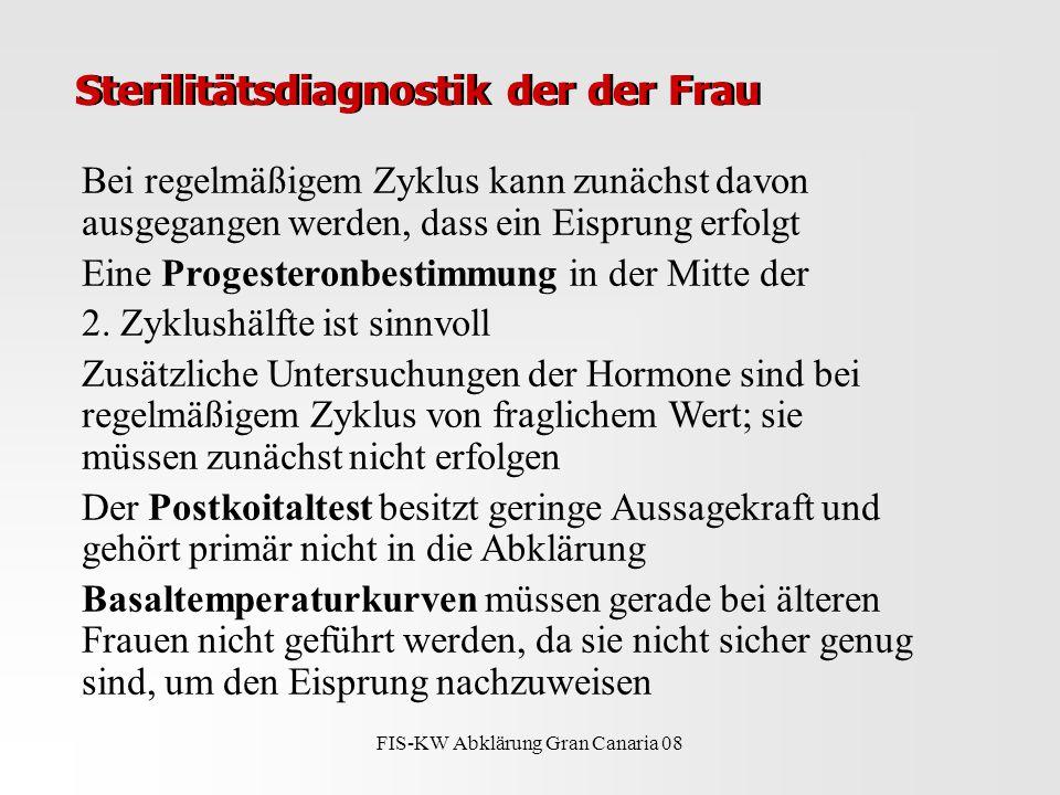 FIS-KW Abklärung Gran Canaria 08 Sterilitätsdiagnostik der der Frau Bei regelmäßigem Zyklus kann zunächst davon ausgegangen werden, dass ein Eisprung erfolgt Eine Progesteronbestimmung in der Mitte der 2.