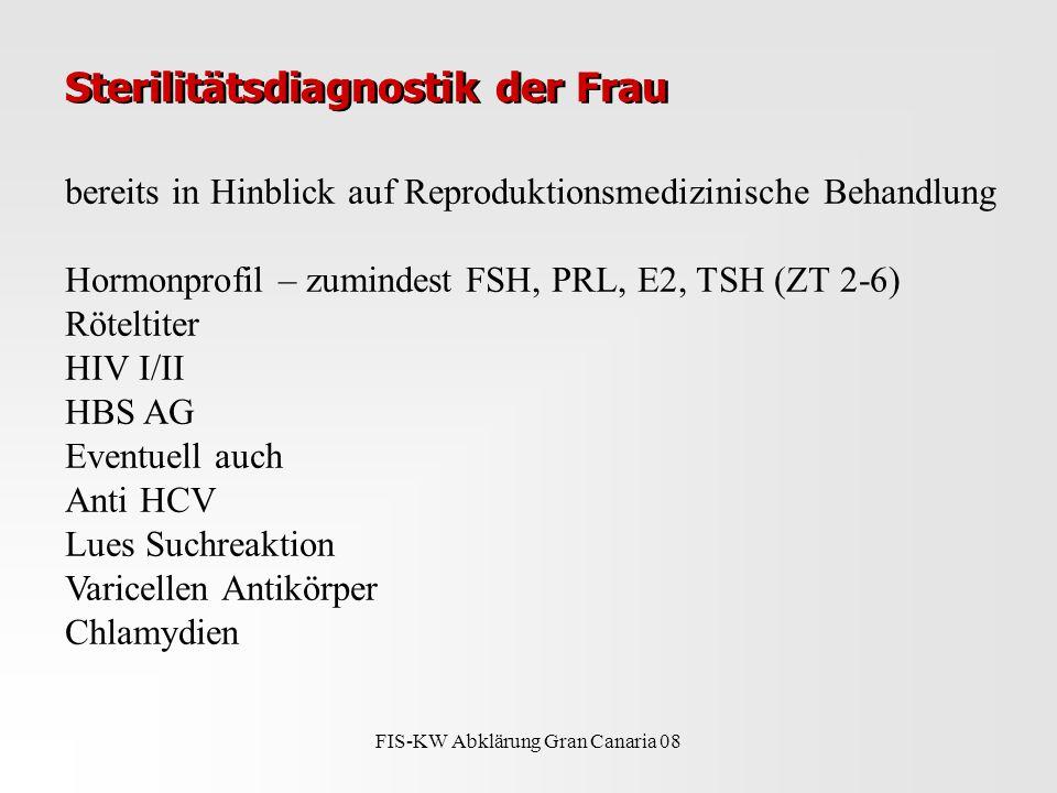 FIS-KW Abklärung Gran Canaria 08 Sterilitätsdiagnostik der Frau bereits in Hinblick auf Reproduktionsmedizinische Behandlung Hormonprofil – zumindest FSH, PRL, E2, TSH (ZT 2-6) Röteltiter HIV I/II HBS AG Eventuell auch Anti HCV Lues Suchreaktion Varicellen Antikörper Chlamydien