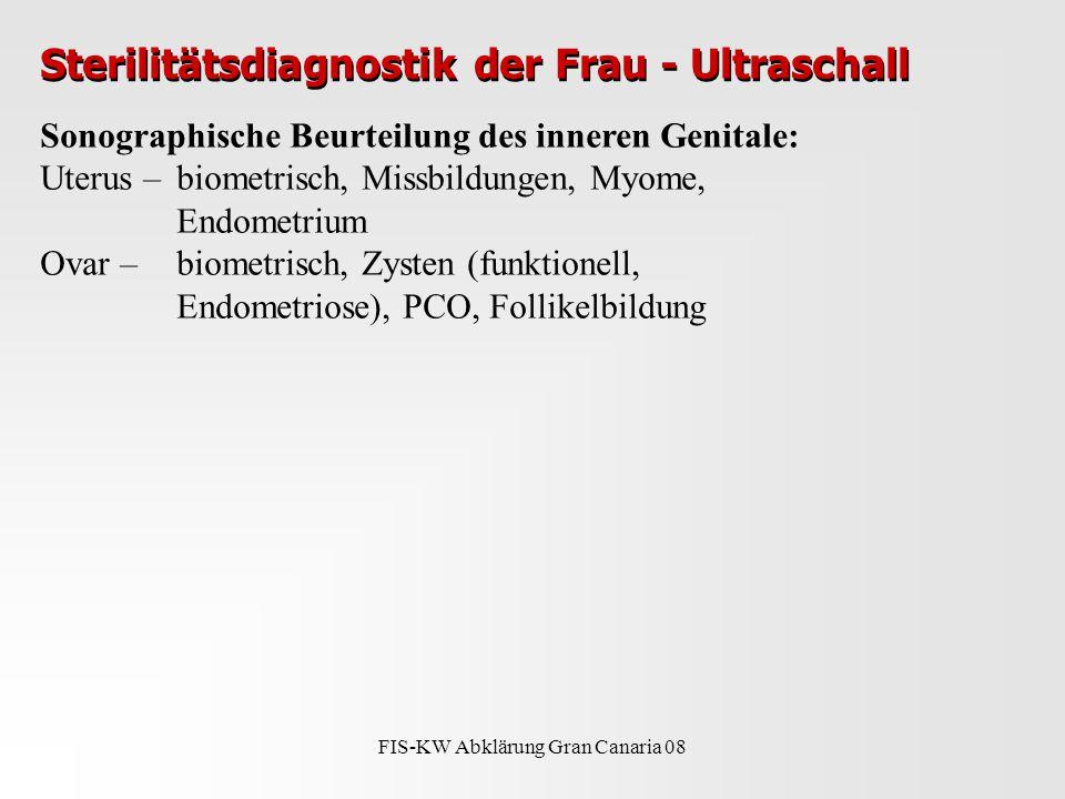 FIS-KW Abklärung Gran Canaria 08 Sterilitätsdiagnostik der Frau - Ultraschall Sonographische Beurteilung des inneren Genitale: Uterus – biometrisch, Missbildungen, Myome, Endometrium Ovar – biometrisch, Zysten (funktionell, Endometriose), PCO, Follikelbildung