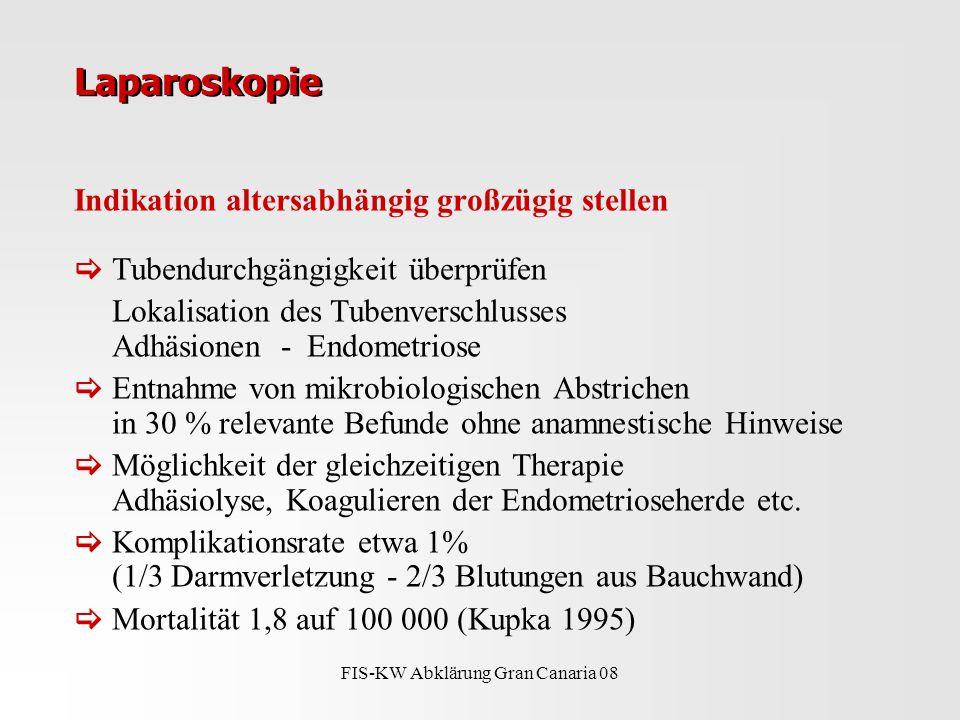 FIS-KW Abklärung Gran Canaria 08 Laparoskopie Indikation altersabhängig großzügig stellen  Tubendurchgängigkeit überprüfen Lokalisation des Tubenverschlusses Adhäsionen - Endometriose  Entnahme von mikrobiologischen Abstrichen in 30 % relevante Befunde ohne anamnestische Hinweise  Möglichkeit der gleichzeitigen Therapie Adhäsiolyse, Koagulieren der Endometrioseherde etc.