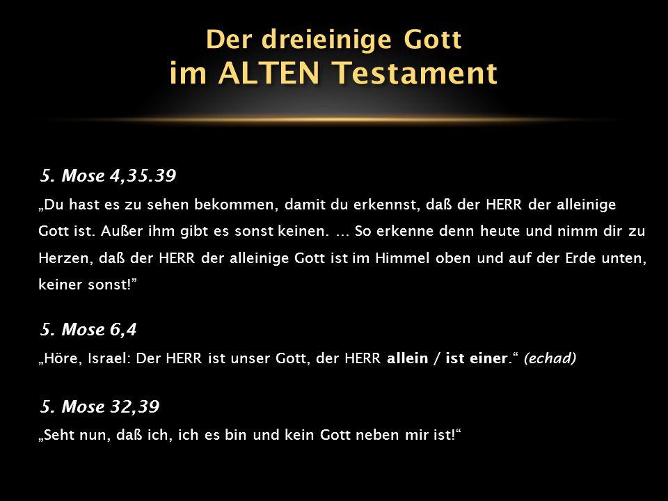 """5. Mose 4,35.39 """"Du hast es zu sehen bekommen, damit du erkennst, daß der HERR der alleinige Gott ist. Außer ihm gibt es sonst keinen. … So erkenne de"""