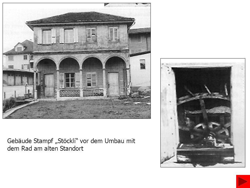 """Gebäude Stampf """"Stöckli vor dem Umbau mit dem Rad am alten Standort"""