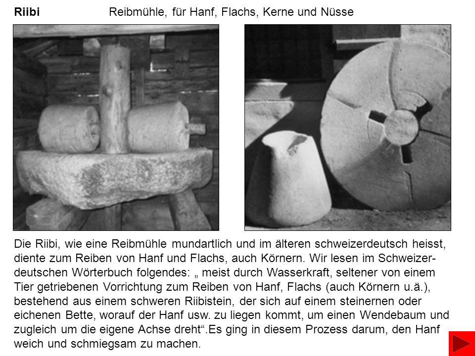 Riibi Reibmühle, für Hanf, Flachs, Kerne und Nüsse Die Riibi, wie eine Reibmühle mundartlich und im älteren schweizerdeutsch heisst, diente zum Reiben