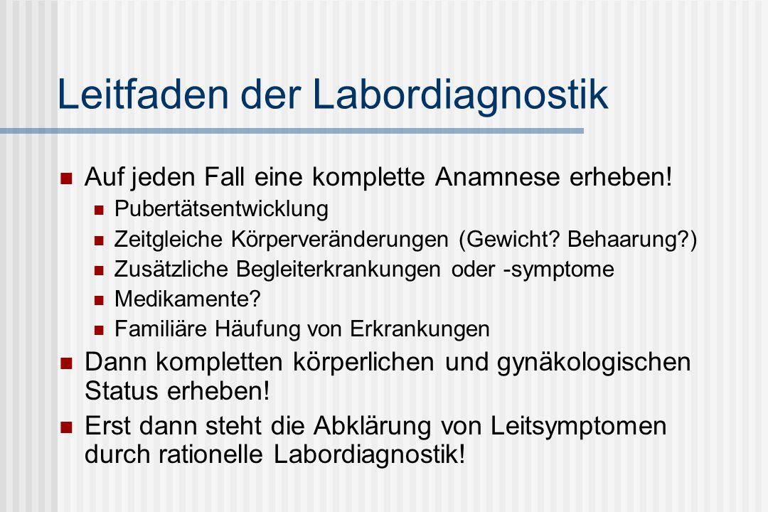 Leitfaden der Labordiagnostik Immer möglichst genaue klinische Angaben aus Anamnese und Befundung an den Laborarzt.