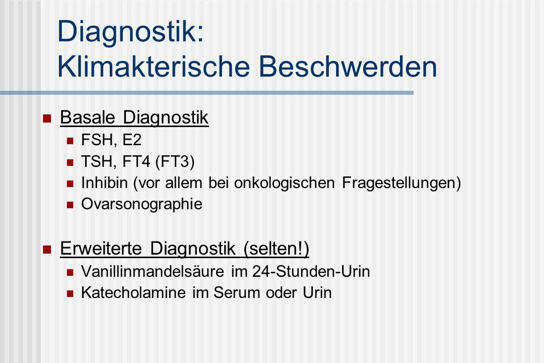 Diagnostik: Klimakterische Beschwerden Basale Diagnostik FSH, E2 TSH, FT4 (FT3) Inhibin (vor allem bei onkologischen Fragestellungen) Ovarsonographie