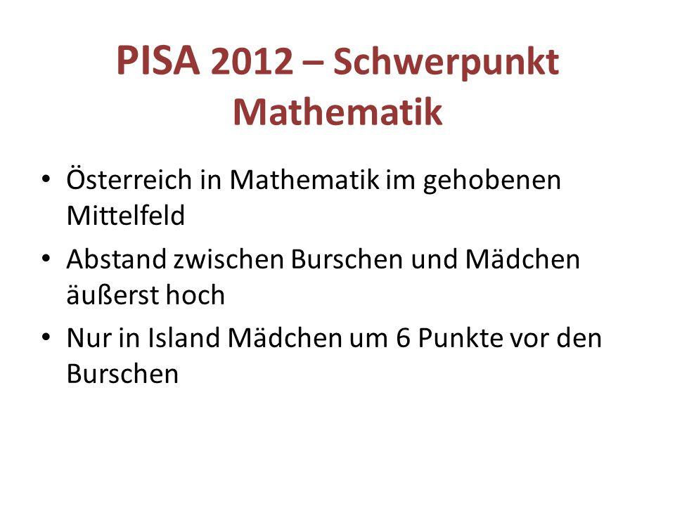 PISA 2012 – Schwerpunkt Mathematik Österreich in Mathematik im gehobenen Mittelfeld Abstand zwischen Burschen und Mädchen äußerst hoch Nur in Island M