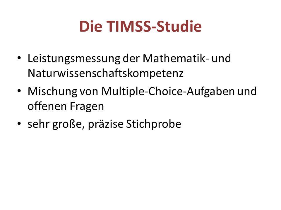 Die TIMSS-Studie Leistungsmessung der Mathematik- und Naturwissenschaftskompetenz Mischung von Multiple-Choice-Aufgaben und offenen Fragen sehr große,