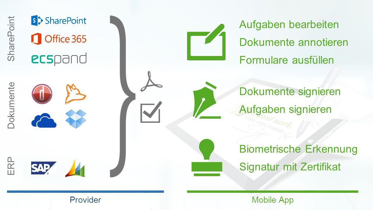 SharePoint Dokumente ERP Provider Aufgaben bearbeiten Dokumente annotieren Formulare ausfüllen Dokumente signieren Aufgaben signieren Biometrische Erkennung Signatur mit Zertifikat Mobile App