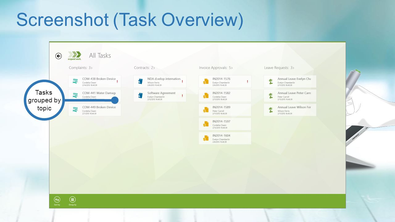 Screenshot (Task Overview) Tasks grouped by topic