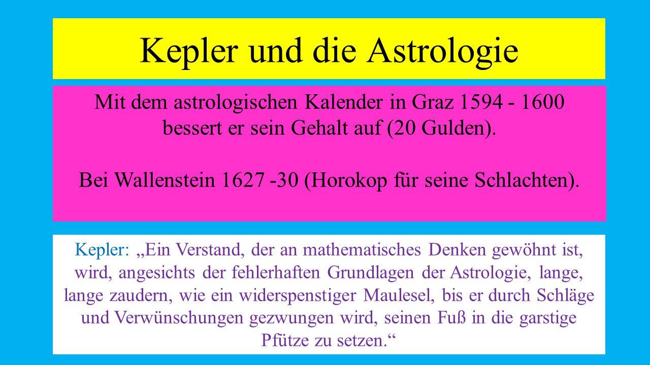 Kepler und die Astrologie 12 Mit dem astrologischen Kalender in Graz 1594 - 1600 bessert er sein Gehalt auf (20 Gulden).