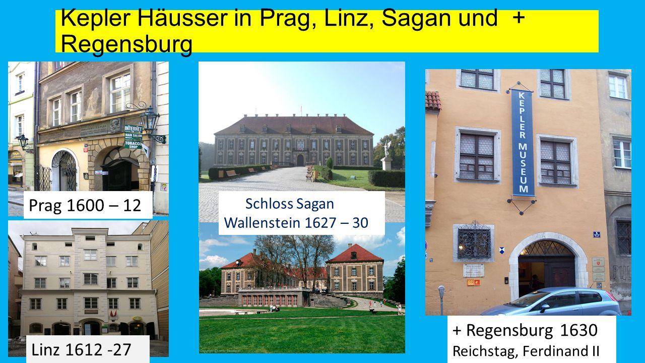Kepler Häusser in Prag, Linz, Sagan und + Regensburg Prag 1600 – 12 Linz 1612 -27 + Regensburg 1630 Reichstag, Ferdinand II Schloss Sagan Wallenstein 1627 – 30
