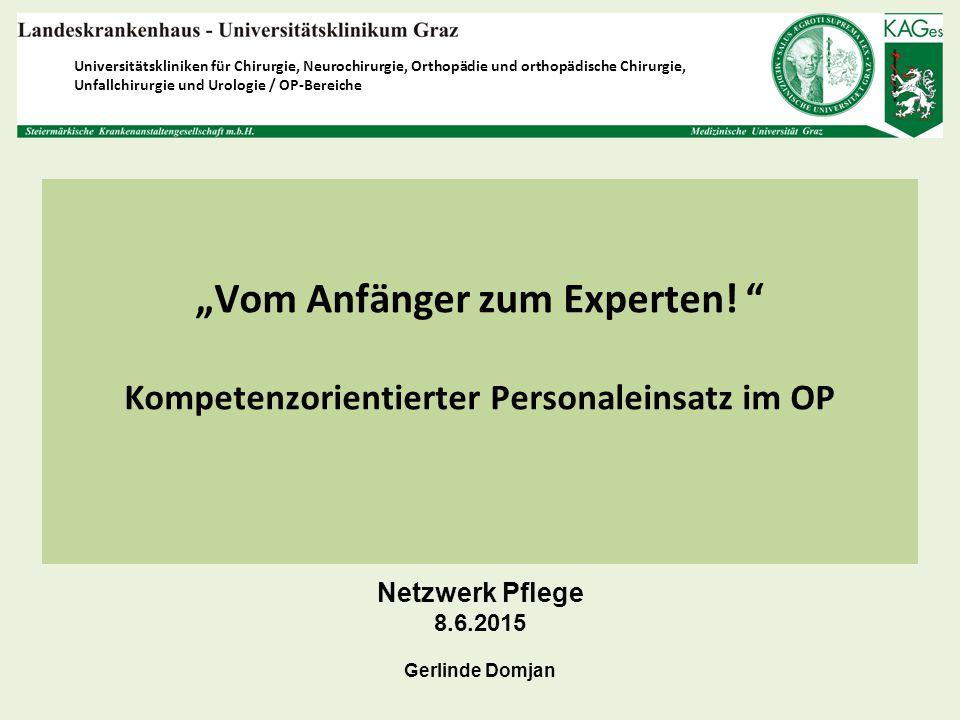 """""""Vom Anfänger zum Experten! """" Kompetenzorientierter Personaleinsatz im OP Universitätskliniken für Chirurgie, Neurochirurgie, Orthopädie und orthopädi"""