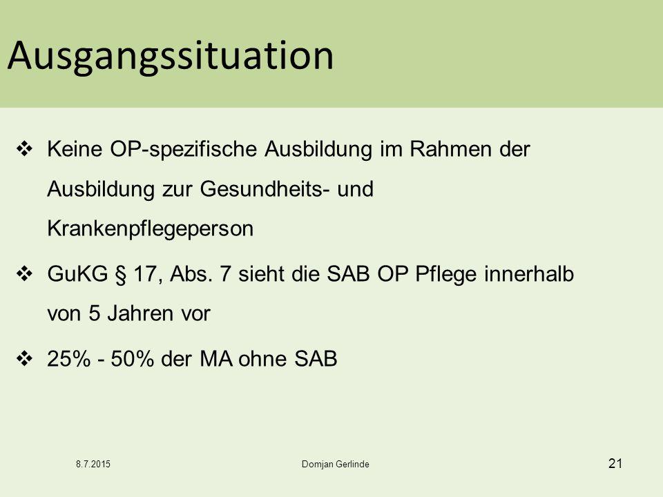 Ausgangssituation  Keine OP-spezifische Ausbildung im Rahmen der Ausbildung zur Gesundheits- und Krankenpflegeperson  GuKG § 17, Abs. 7 sieht die SA