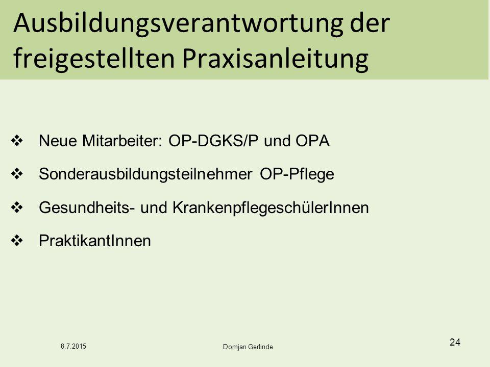 Ausbildungsverantwortung der freigestellten Praxisanleitung  Neue Mitarbeiter: OP-DGKS/P und OPA  Sonderausbildungsteilnehmer OP-Pflege  Gesundheit