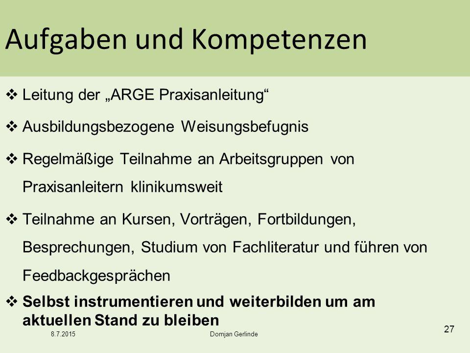"""Aufgaben und Kompetenzen  Leitung der """"ARGE Praxisanleitung""""  Ausbildungsbezogene Weisungsbefugnis  Regelmäßige Teilnahme an Arbeitsgruppen von Pra"""