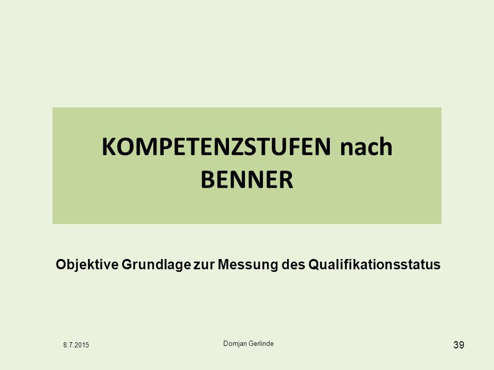 39 KOMPETENZSTUFEN nach BENNER Domjan Gerlinde 8.7.2015 Objektive Grundlage zur Messung des Qualifikationsstatus